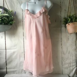 Vintage Baby Pink Embroidered Floral Chemise